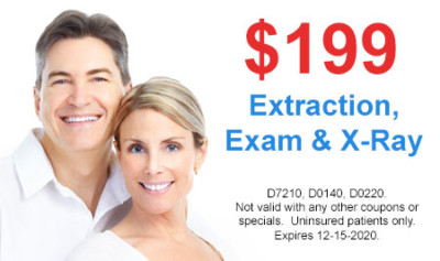 $199 Extraction, Exam and X-ray